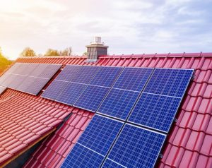 roof of a new house with solar modul or photovoltaic system